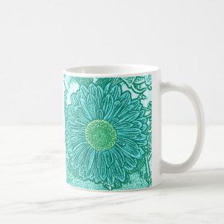 Gerbera Daisy Block Print - shades of aqua Coffee Mugs