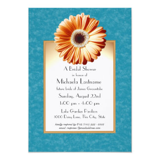 Gerbera Daisy Blue and Orange Card