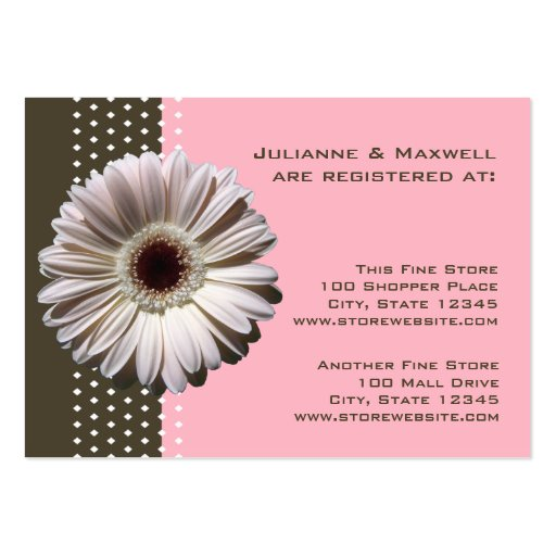Gerbera Daisy/ Brown and Pink Business Cards