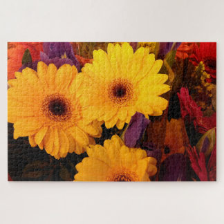 Gerbera Daisy Flowers And Irises Jigsaw Puzzle