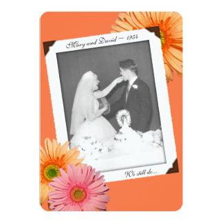 Gerbera Daisy Orange Photo Vow Renewal Invite