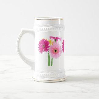 Gerbera Daisy Piink Flowers 18 Oz Beer Stein