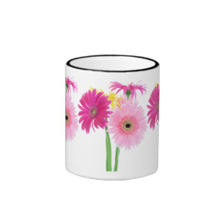 Gerbera Daisy Piink Flowers Ringer Mug