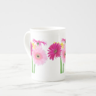 Gerbera Daisy Piink Flowers Bone China Mugs