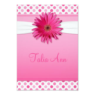 Gerbera Daisy Polka Dot Bat Mitzvah Invitation