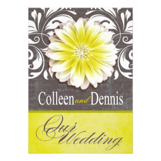 Gerbera Daisy Scroll 1 Wedding yellow chalkboard Custom Announcement