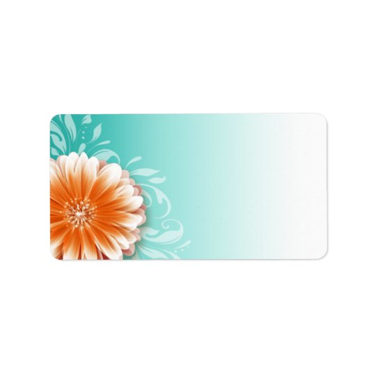 Gerbera Daisy Scroll   orange aqua Mailing Label
