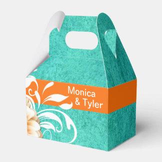 Gerbera Daisy Scroll   orange turquoise Favour Box