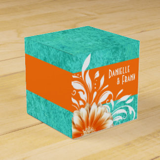 Gerbera Daisy Scroll | orange turquoise Favour Box