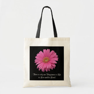 """Gerbera Daisy """"To Love and Be Loved"""" Budget Tote Canvas Bag"""