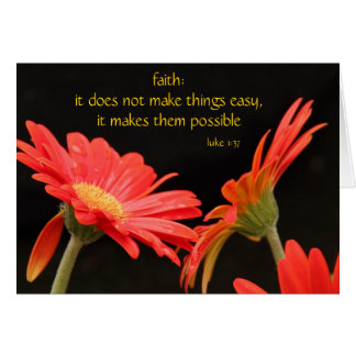 Gerbera Daisy, w Scripture verse on Faith (Luke) Card