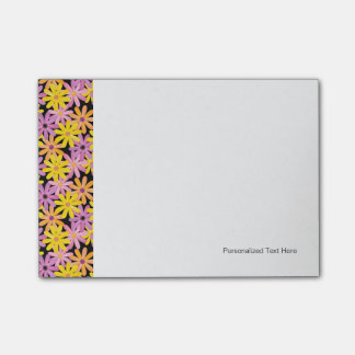 Gerbera flowers pattern, background post-it notes