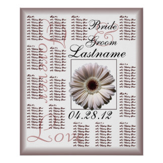 Gerbera White Daisy Wedding Guest Seating Chart Poster