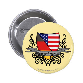 German-American Shield Flag 6 Cm Round Badge