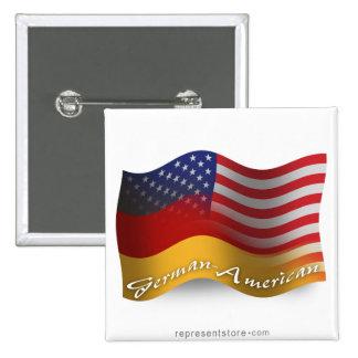 German-American Waving Flag 15 Cm Square Badge