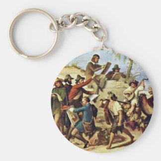 German Artists In Rome By Kaulbach Wilhelm Von (Be Basic Round Button Key Ring