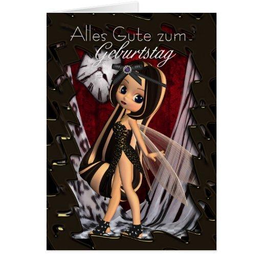 German Birthday Card - Cutie Pie Gothic Fairy