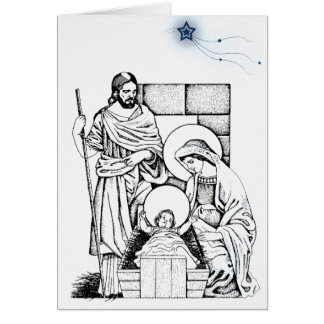 German Blue and White Nativity Christmas card