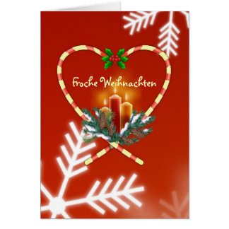 German Christmas - candy cane candles, pine,cones Greeting Cards