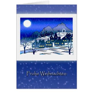 German Christmas, Frohe Weihnachten, Snowy Village Card