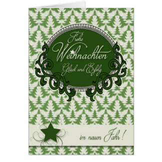 German Christmas - Retro Green Holiday Trees Card