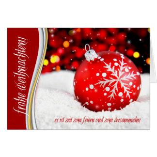 German Christmas Weihnachten Red Snowflake Card