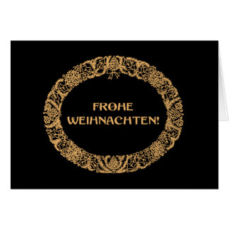 German Christmas Wreath Card Gold-effect on Black