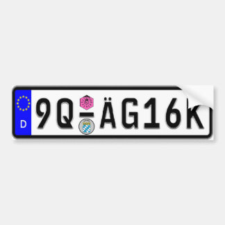 German Euro License Plate White Bumper Sticker