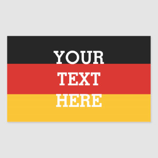 GERMAN FLAG COLORS + your text Rectangular Sticker