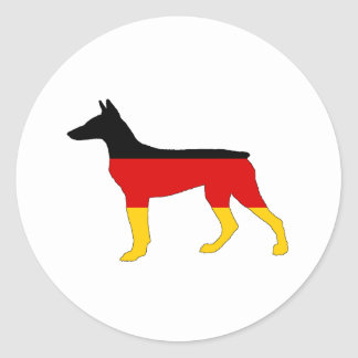 German Flag - Dobermann Pinscher Classic Round Sticker