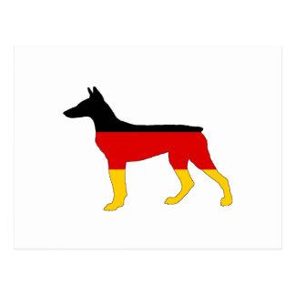 German Flag - Dobermann Pinscher Postcard