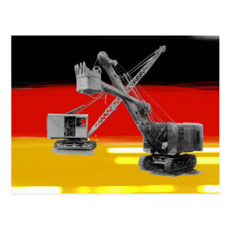 German Flag Heavy Equipment Crane Operator Shovel Postcard