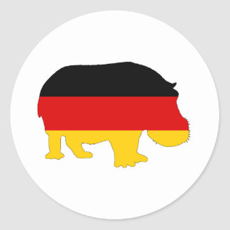 German Flag - Hippo Classic Round Sticker