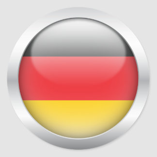German Flag in Orb Classic Round Sticker