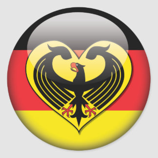 German Flag Love Classic Round Sticker