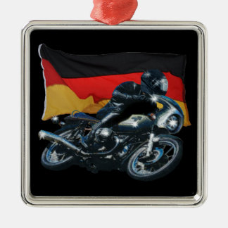 German Flag & Motorbike Rider Silver-Colored Square Decoration