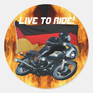 German Flag & Motorbike Rider Round Sticker