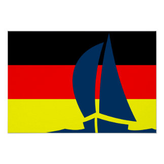 German Flag Sailing Yacht Germany Nautical Posters
