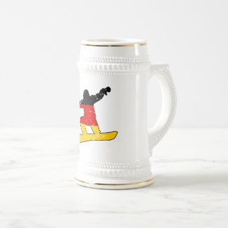 German flag SNOWBOARDER (blk) Beer Stein