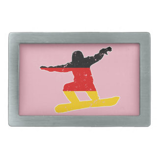 German flag SNOWBOARDER (wht) Belt Buckle