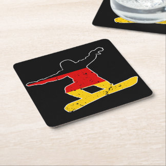 German flag SNOWBOARDER (wht) Square Paper Coaster