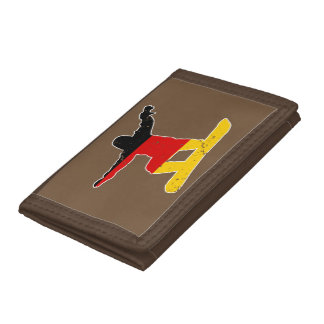 German flag SNOWBOARDER (wht) Tri-fold Wallets