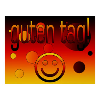 German Gifts : Hello / Guten Tag + Smiley Face Poster