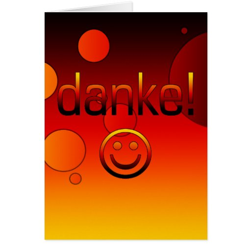 German Gifts : Thank You / Danke + Smiley Face Greeting Card