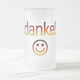 German Gifts : Thank You / Danke + Smiley Face Frosted Glass Mug