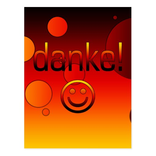 German Gifts : Thank You / Danke + Smiley Face Post Card