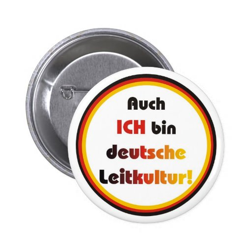 German guiding culture pinback button