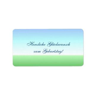 German Happy Birthday Green Blue Label Address Label