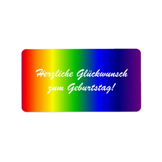 German Happy Birthday Rainbow Colours Label
