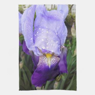 German Iris With Some Raindrops Tea Towel